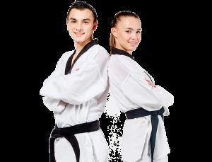 teenage boy and girl in karate uniforms