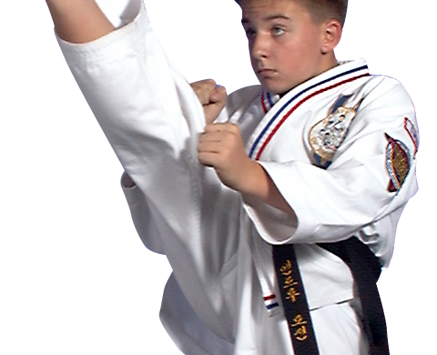 teen boy karate kicking
