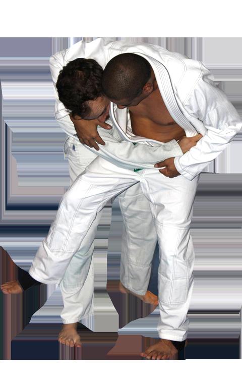Adult men doing jiu-jitsu