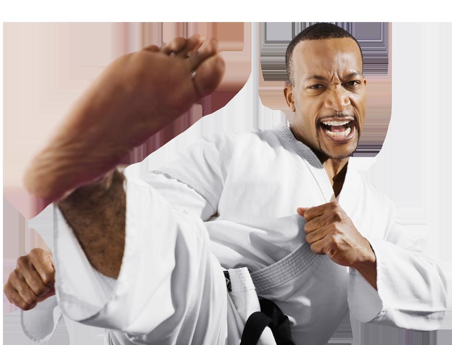 adult man karate kicking