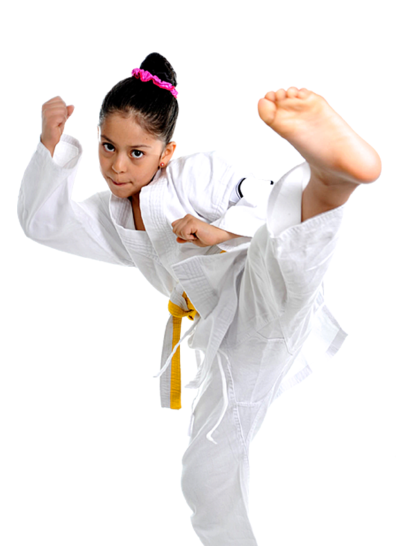 young girl karate kicking