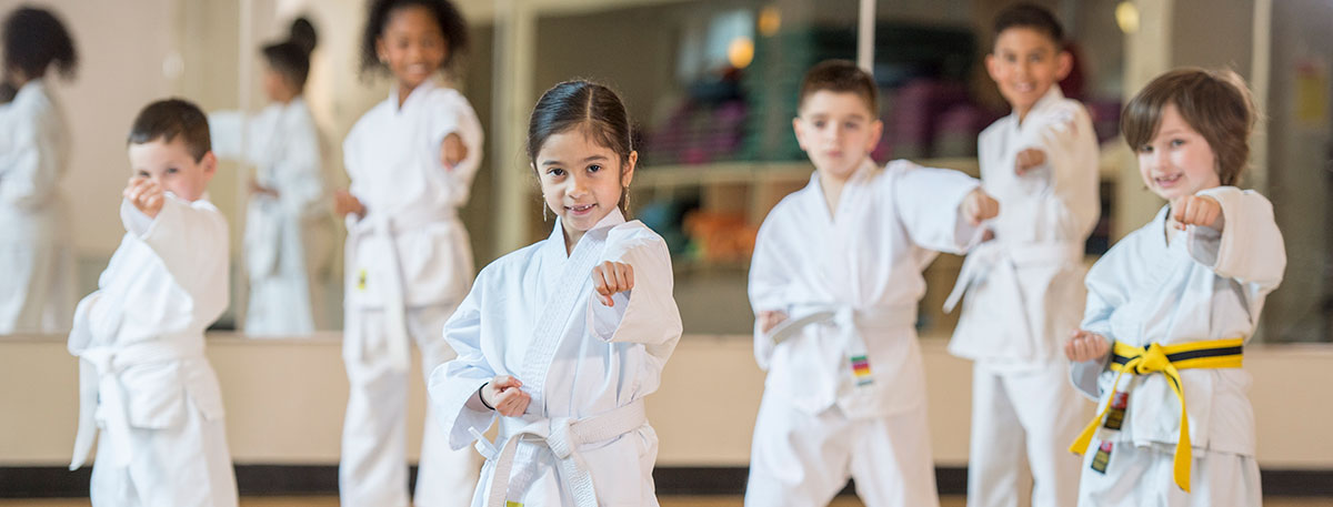 karate class and students